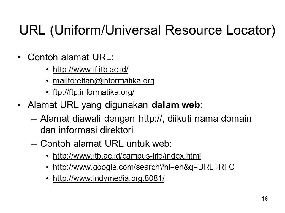 16 •Contoh alamat URL: •http://www.if.itb.ac.id/ •mailto:elfan@informatika.org •ftp://ftp.informatika.org/ •Alamat URL yang digunakan dalam web: –Alam