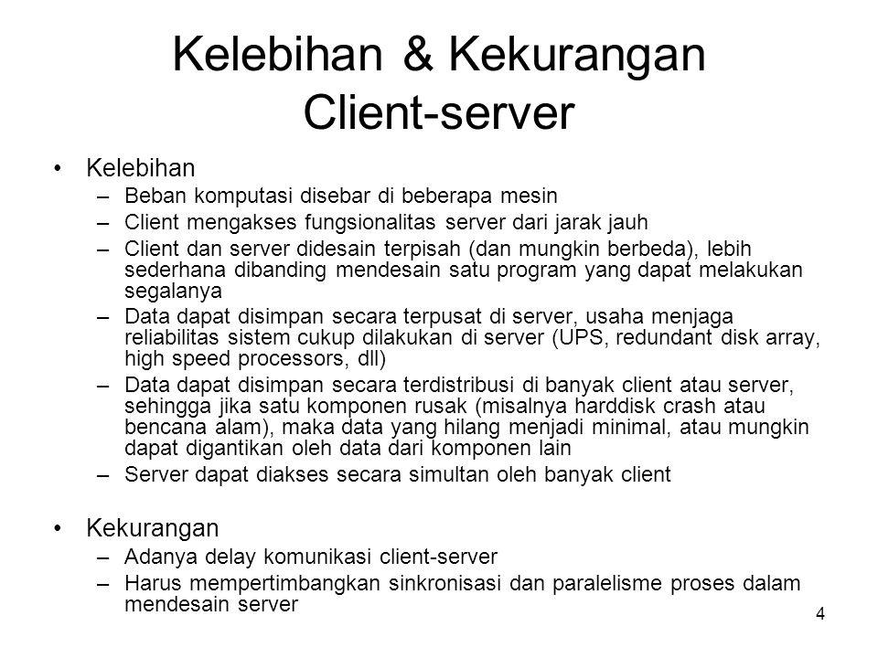 4 Kelebihan & Kekurangan Client-server •Kelebihan –Beban komputasi disebar di beberapa mesin –Client mengakses fungsionalitas server dari jarak jauh –