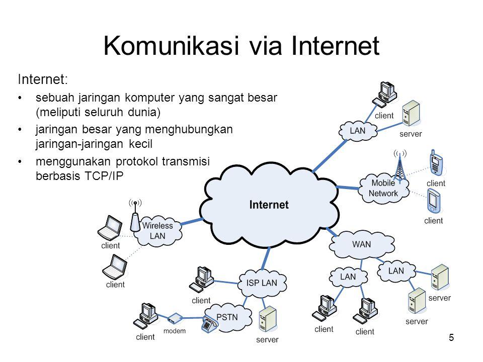 5 Komunikasi via Internet Internet: •sebuah jaringan komputer yang sangat besar (meliputi seluruh dunia) •jaringan besar yang menghubungkan jaringan-j