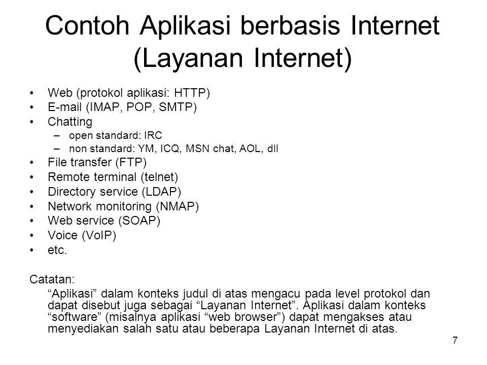 7 Contoh Aplikasi berbasis Internet (Layanan Internet) •Web (protokol aplikasi: HTTP) •E-mail (IMAP, POP, SMTP) •Chatting –open standard: IRC –non sta