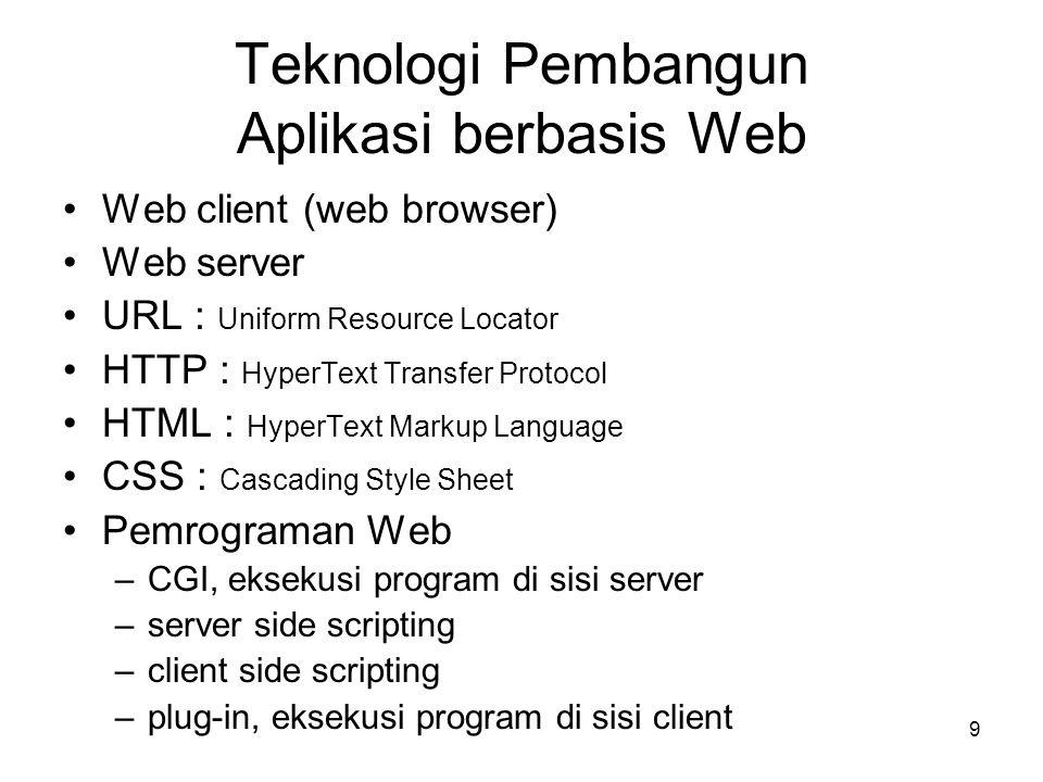 20 Pemrograman Web •CGI, eksekusi program di sisi server (perl, C) Web server menjalankan file program dan mengambil keluarannya untuk dijadikan HTTP response •server side scripting (PHP, ASP, JSP, Phyton) Web server mengidentifikasi dan menjalankan skrip program yang disisipkan dalam dokumen web dan menempatkan keluarannya sebagai bagian dari dokumen web •client side scripting (JavaScript, JScript, VBScript) Web browser mengidentifikasi dan menjalankan skrip program yang disisipkan dalam dokumen web (yang diterima dari server), dan dapat meng-update tampilan dokumen web di komputer user tanpa mengirimkan request baru kepada web server •plug-in, eksekusi program di sisi client (applet, ActiveX, Flash) Web browser menjalankan file program dengan bantuan plug-in viewer/player dan menyediakan suatu area di dalam dokumen web sebagai tempat menampilkan antarmuka program tersebut