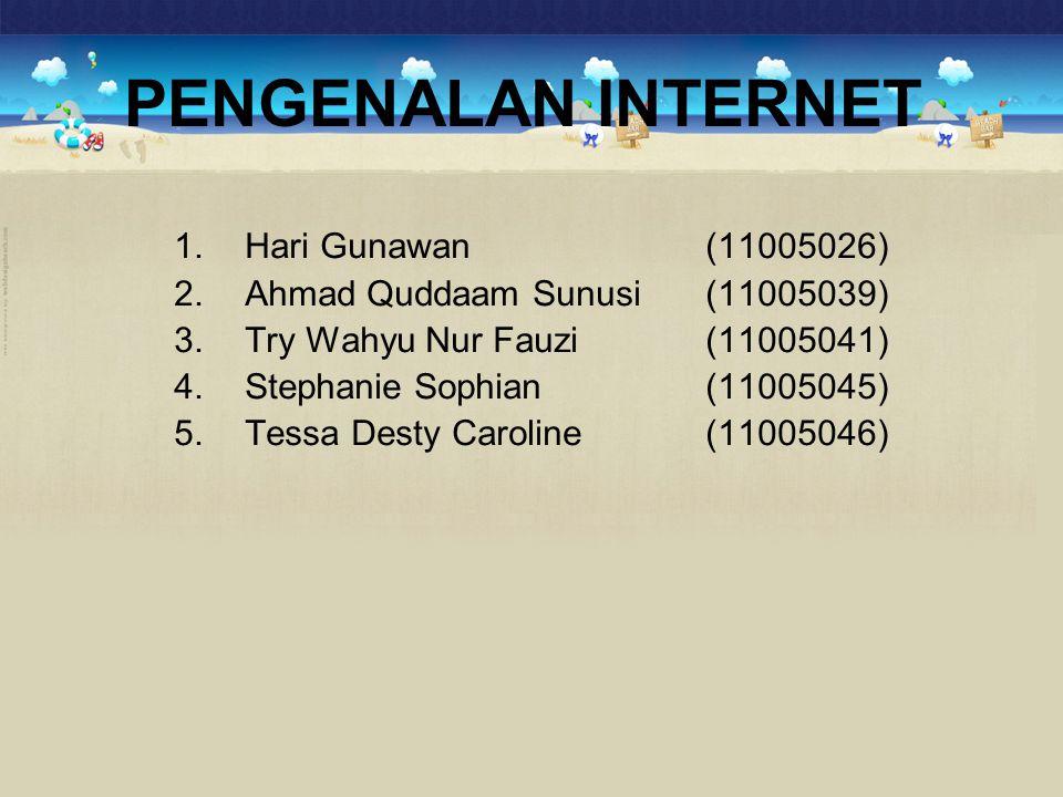 PENGENALAN INTERNET 1.Hari Gunawan (11005026) 2.Ahmad Quddaam Sunusi (11005039) 3.Try Wahyu Nur Fauzi (11005041) 4.Stephanie Sophian (11005045) 5.Tess