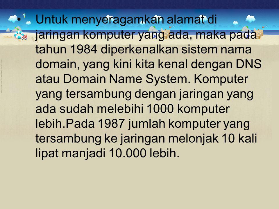 •Untuk menyeragamkan alamat di jaringan komputer yang ada, maka pada tahun 1984 diperkenalkan sistem nama domain, yang kini kita kenal dengan DNS atau