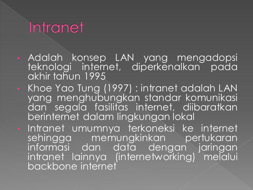 • Adalah konsep LAN yang mengadopsi teknologi internet, diperkenalkan pada akhir tahun 1995 • Khoe Yao Tung (1997) : intranet adalah LAN yang menghubu