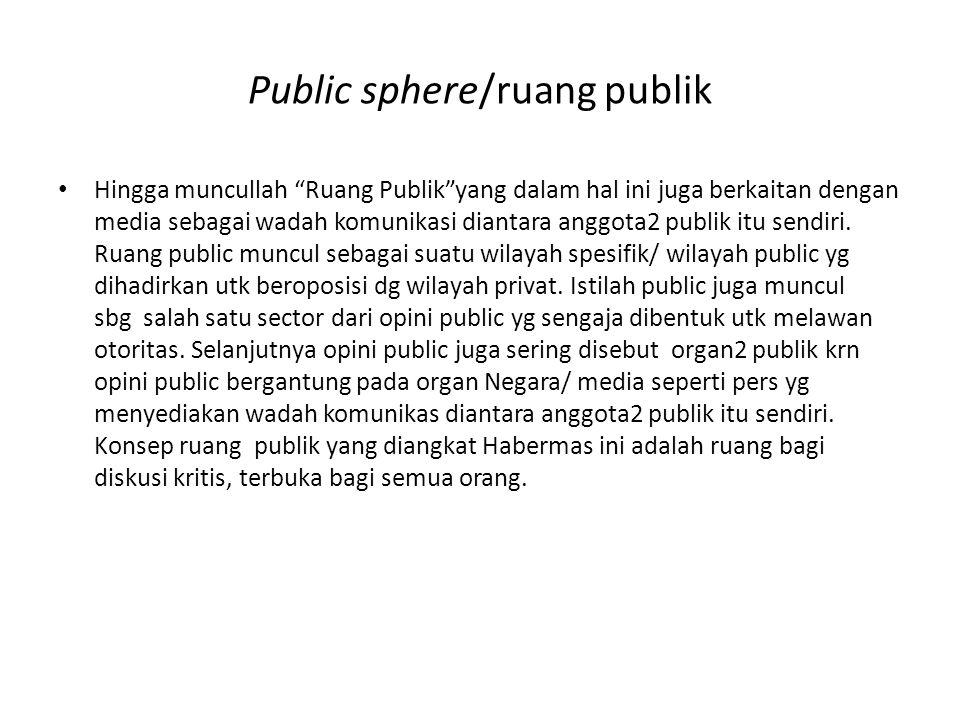 """Public sphere/ruang publik • Hingga muncullah """"Ruang Publik""""yang dalam hal ini juga berkaitan dengan media sebagai wadah komunikasi diantara anggota2"""
