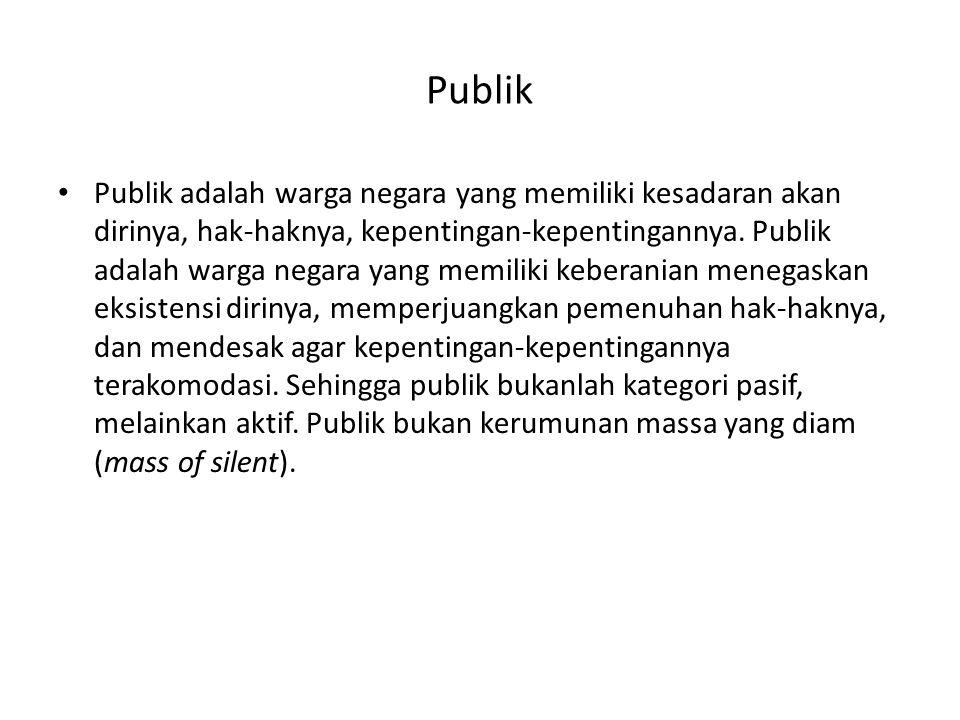 Publik • Publik adalah warga negara yang memiliki kesadaran akan dirinya, hak-haknya, kepentingan-kepentingannya. Publik adalah warga negara yang memi