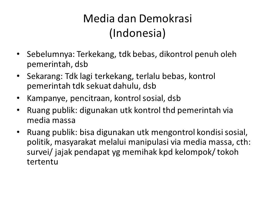 Media dan Demokrasi (Indonesia) • Sebelumnya: Terkekang, tdk bebas, dikontrol penuh oleh pemerintah, dsb • Sekarang: Tdk lagi terkekang, terlalu bebas