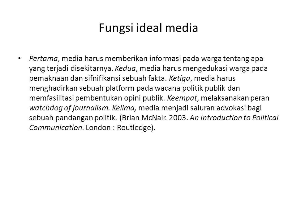 Fungsi ideal media • Pertama, media harus memberikan informasi pada warga tentang apa yang terjadi disekitarnya. Kedua, media harus mengedukasi warga