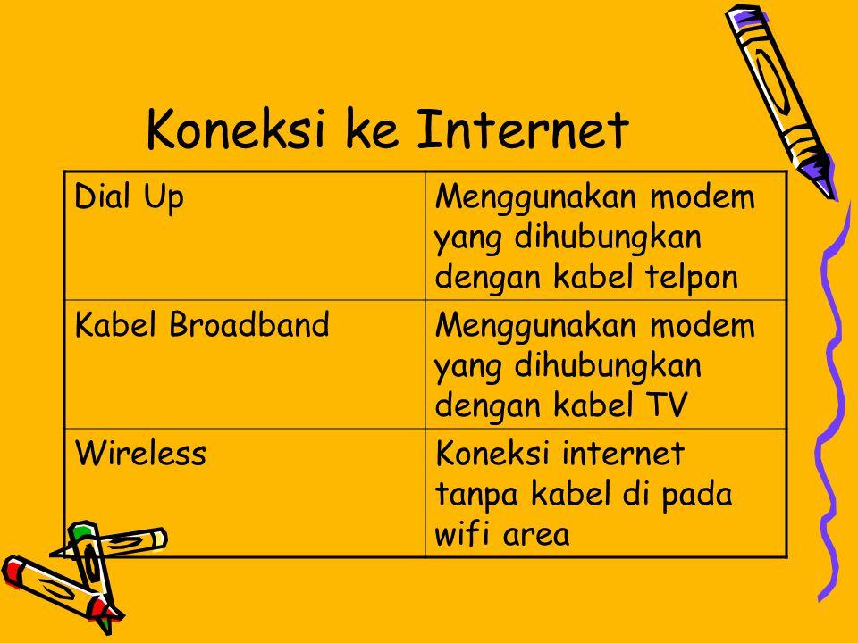 Koneksi ke Internet Dial UpMenggunakan modem yang dihubungkan dengan kabel telpon Kabel BroadbandMenggunakan modem yang dihubungkan dengan kabel TV WirelessKoneksi internet tanpa kabel di pada wifi area