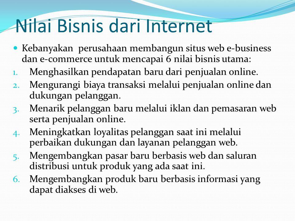 Nilai Bisnis dari Internet  Kebanyakan perusahaan membangun situs web e-business dan e-commerce untuk mencapai 6 nilai bisnis utama: 1. Menghasilkan