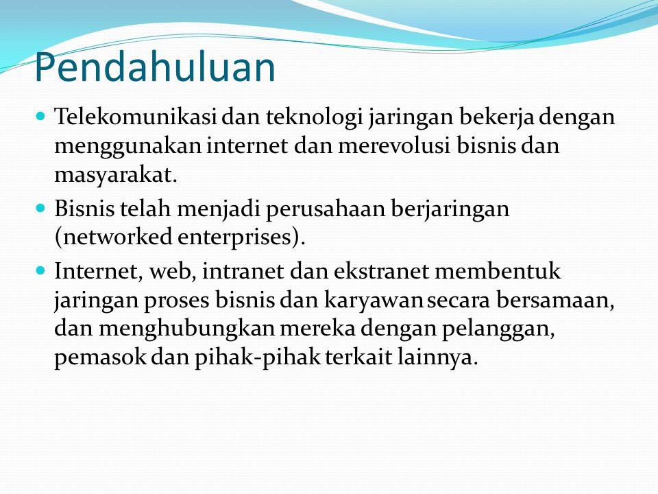 Bisnis Menggunakan Internet  Aplikasi seperti kerja sama antara mitra bisnis, penyediaan dukungan pelanggan dan pemasok serta e- commerce telah menjadi penggunaan bisnis utama dari internet.