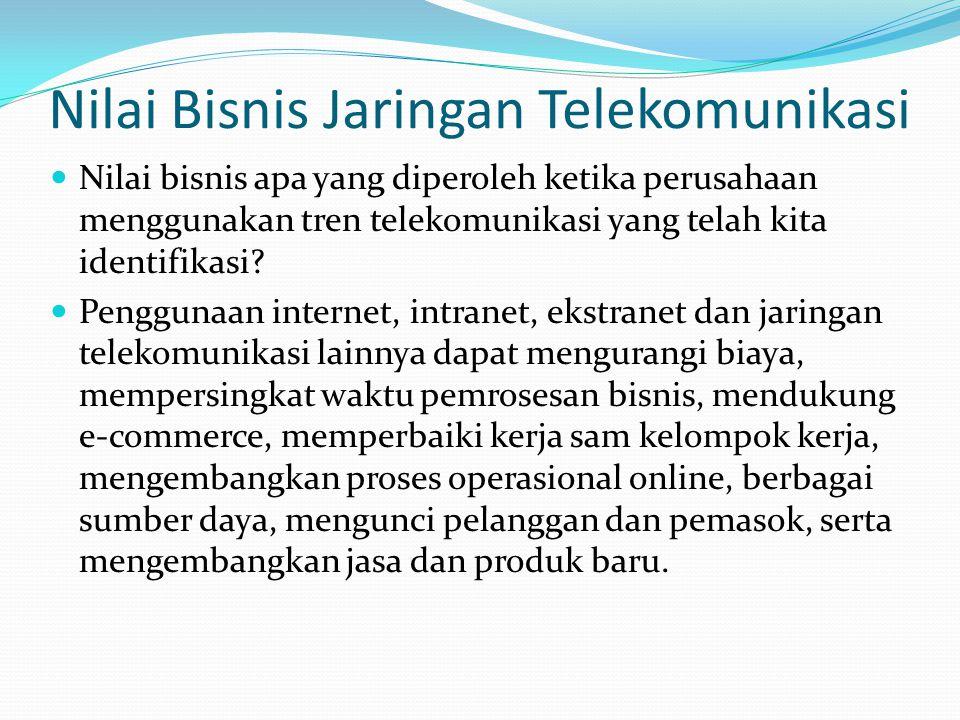 Nilai Bisnis Jaringan Telekomunikasi  Nilai bisnis apa yang diperoleh ketika perusahaan menggunakan tren telekomunikasi yang telah kita identifikasi.
