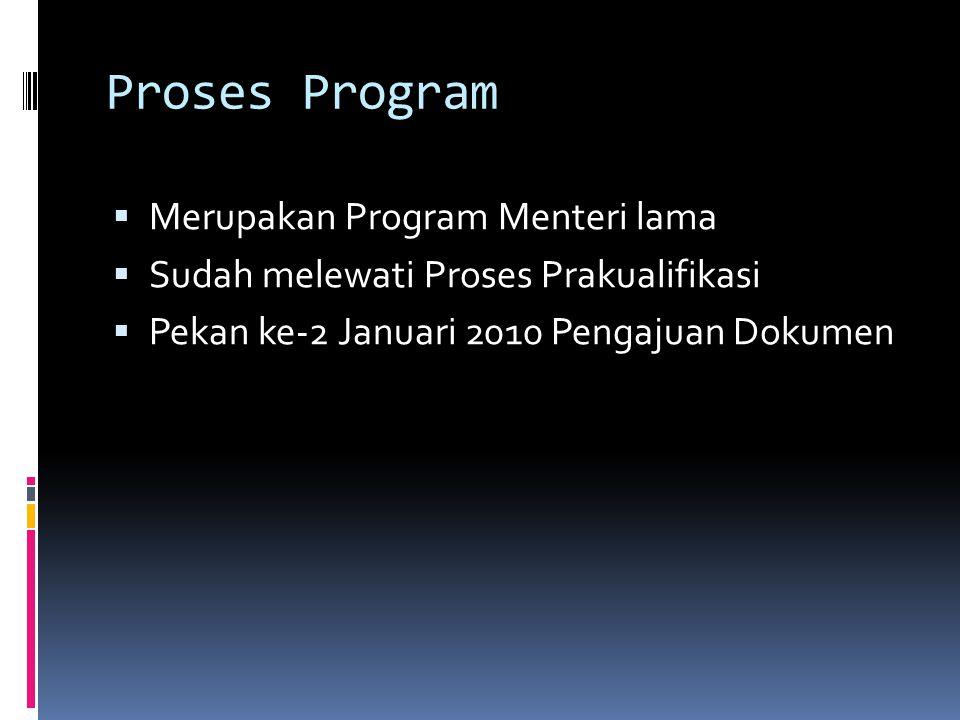 Proses Program  Merupakan Program Menteri lama  Sudah melewati Proses Prakualifikasi  Pekan ke-2 Januari 2010 Pengajuan Dokumen