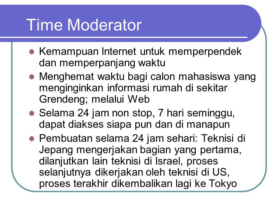 Time Moderator  Kemampuan Internet untuk memperpendek dan memperpanjang waktu  Menghemat waktu bagi calon mahasiswa yang menginginkan informasi rumah di sekitar Grendeng; melalui Web  Selama 24 jam non stop, 7 hari seminggu, dapat diakses siapa pun dan di manapun  Pembuatan selama 24 jam sehari: Teknisi di Jepang mengerjakan bagian yang pertama, dilanjutkan lain teknisi di Israel, proses selanjutnya dikerjakan oleh teknisi di US, proses terakhir dikembalikan lagi ke Tokyo