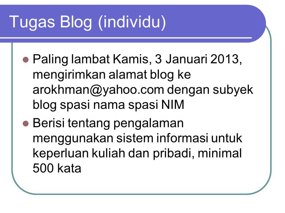 Tugas Blog (individu)  Paling lambat Kamis, 3 Januari 2013, mengirimkan alamat blog ke arokhman@yahoo.com dengan subyek blog spasi nama spasi NIM  B