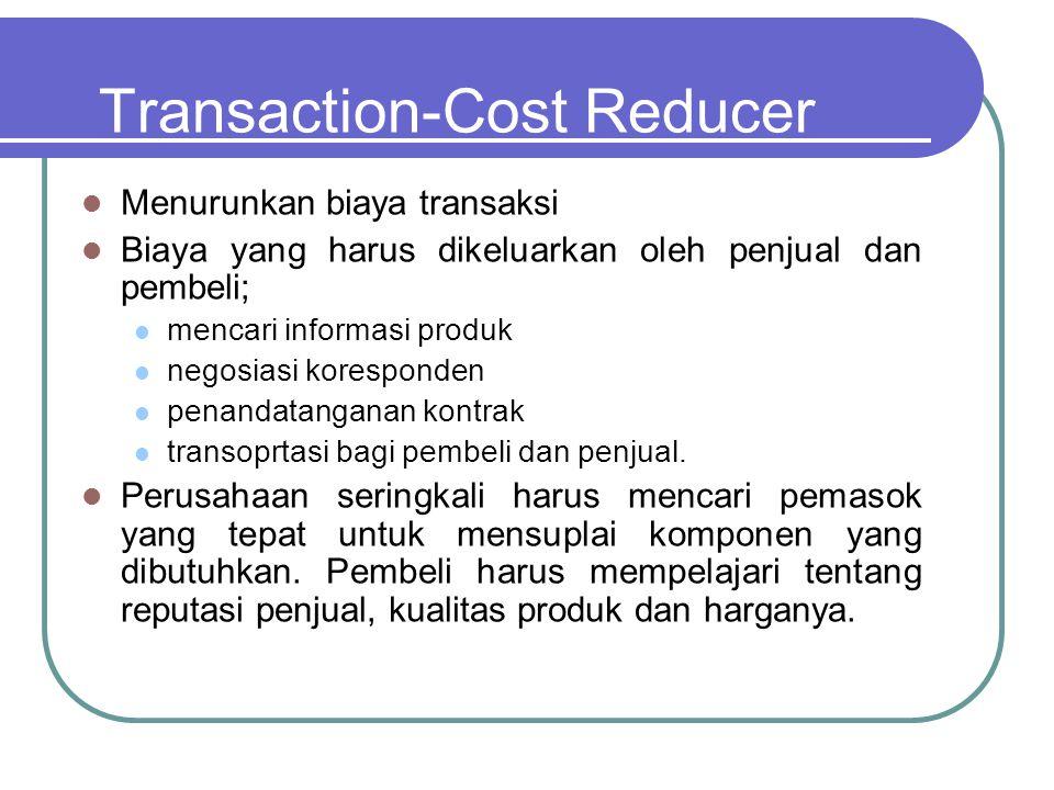 Transaction-Cost Reducer  Menurunkan biaya transaksi  Biaya yang harus dikeluarkan oleh penjual dan pembeli;  mencari informasi produk  negosiasi koresponden  penandatanganan kontrak  transoprtasi bagi pembeli dan penjual.