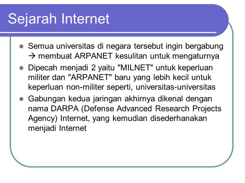 Sejarah Internet  Semua universitas di negara tersebut ingin bergabung  membuat ARPANET kesulitan untuk mengaturnya  Dipecah menjadi 2 yaitu