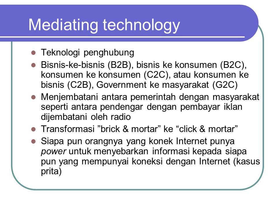 Mediating technology  Teknologi penghubung  Bisnis-ke-bisnis (B2B), bisnis ke konsumen (B2C), konsumen ke konsumen (C2C), atau konsumen ke bisnis (C2B), Government ke masyarakat (G2C)  Menjembatani antara pemerintah dengan masyarakat seperti antara pendengar dengan pembayar iklan dijembatani oleh radio  Transformasi brick & mortar ke click & mortar  Siapa pun orangnya yang konek Internet punya power untuk menyebarkan informasi kepada siapa pun yang mempunyai koneksi dengan Internet (kasus prita)