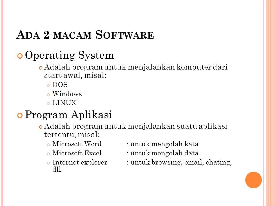 A DA 2 MACAM S OFTWARE Operating System Adalah program untuk menjalankan komputer dari start awal, misal: DOS Windows LINUX Program Aplikasi Adalah pr