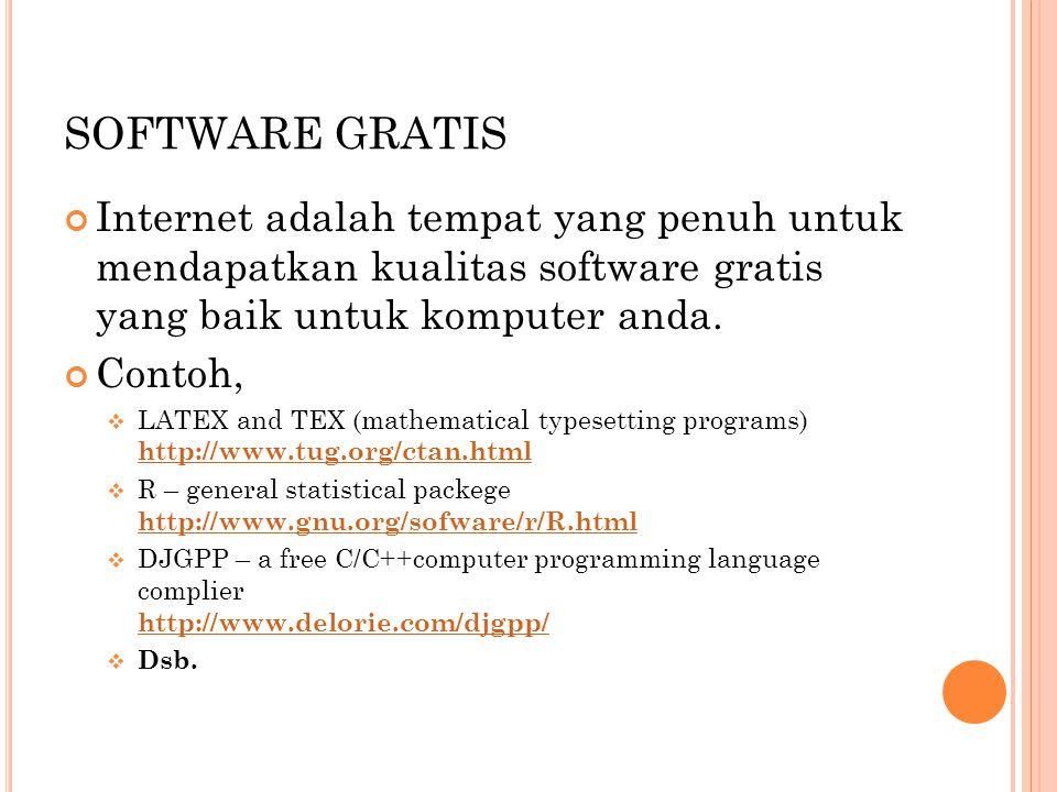 SOFTWARE GRATIS Internet adalah tempat yang penuh untuk mendapatkan kualitas software gratis yang baik untuk komputer anda. Contoh,  LATEX and TEX (m