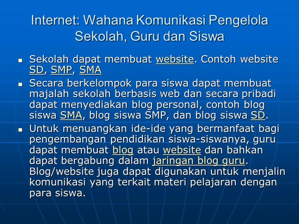Internet: Wahana Komunikasi Pengelola Sekolah, Guru dan Siswa  Sekolah dapat membuat website. Contoh website SD, SMP, SMA website SDSMPSMAwebsite SDS