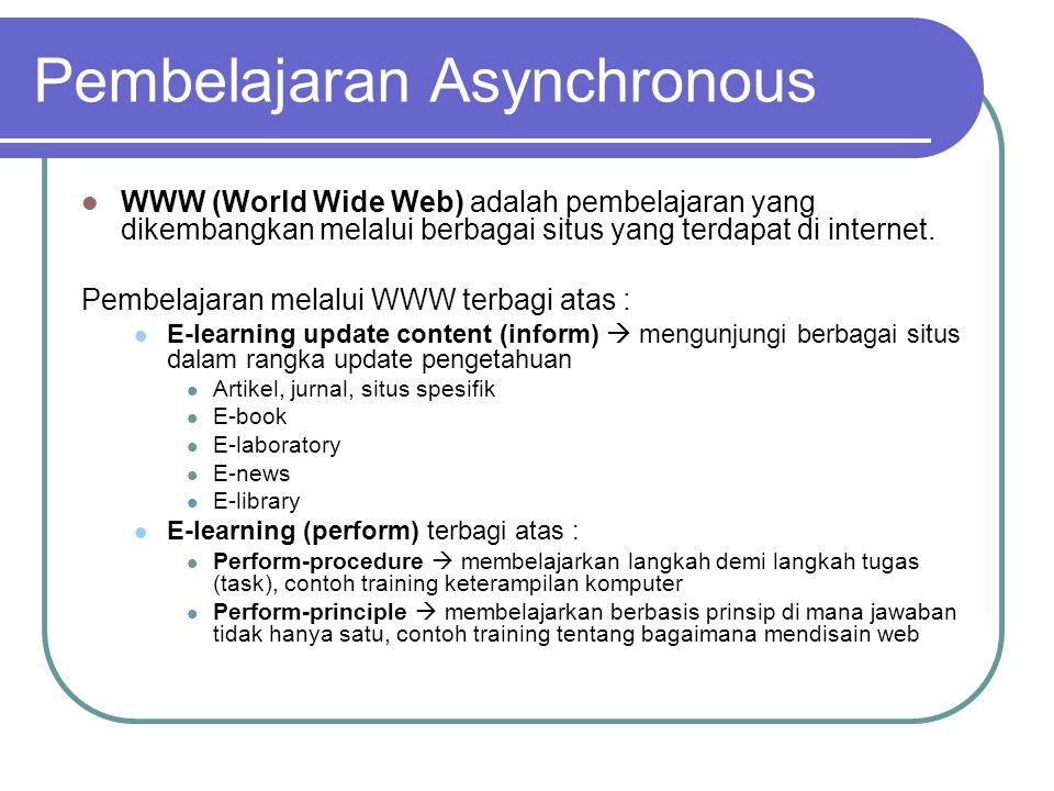  WWW (World Wide Web) adalah pembelajaran yang dikembangkan melalui berbagai situs yang terdapat di internet.