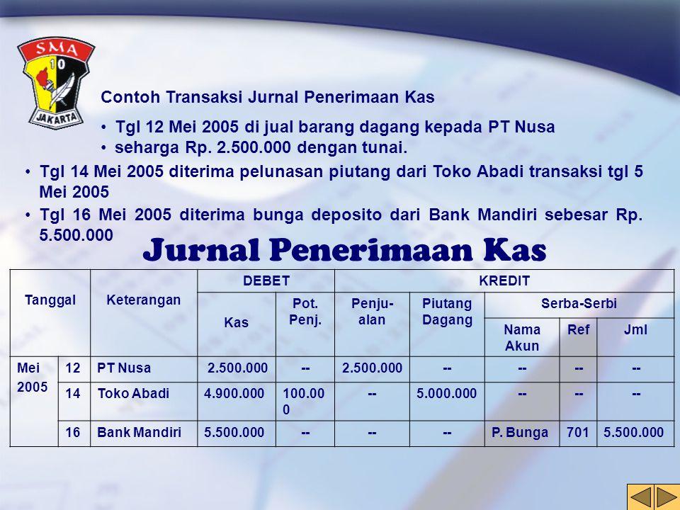 Jurnal Penerimaan Kas Contoh Transaksi Jurnal Penerimaan Kas •Tgl 12 Mei 2005 di jual barang dagang kepada PT Nusa •seharga Rp. 2.500.000 dengan tunai