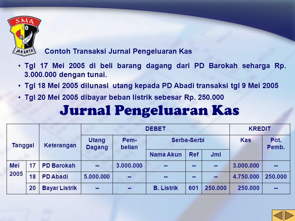 Jurnal Pengeluaran Kas Contoh Transaksi Jurnal Pengeluaran Kas •Tgl 17 Mei 2005 di beli barang dagang dari PD Barokah seharga Rp. 3.000.000 dengan tun