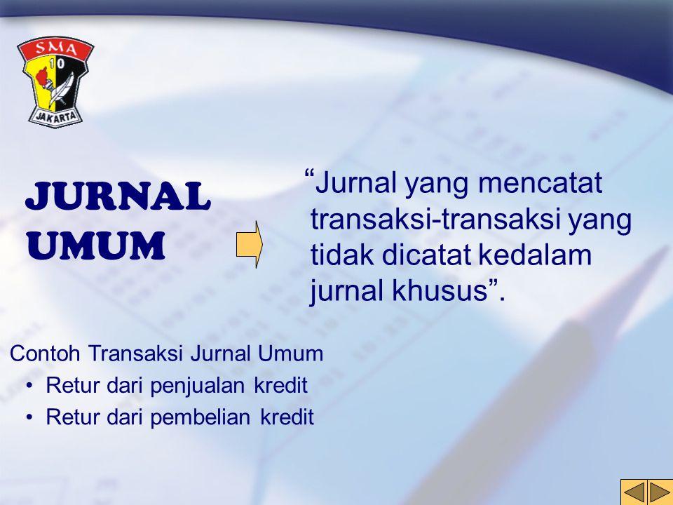 """JURNAL UMUM """" Jurnal yang mencatat transaksi-transaksi yang tidak dicatat kedalam jurnal khusus"""". Contoh Transaksi Jurnal Umum • Retur dari penjualan"""