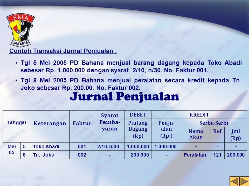Contoh Transaksi Jurnal Penjualan : •Tgl 5 Mei 2005 PD Bahana menjual barang dagang kepada Toko Abadi sebesar Rp. 1.000.000 dengan syarat 2/10, n/30.