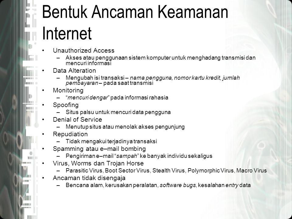 Bentuk Ancaman Keamanan Internet •Unauthorized Access –Akses atau penggunaan sistem komputer untuk menghadang transmisi dan mencuri informasi •Data Al