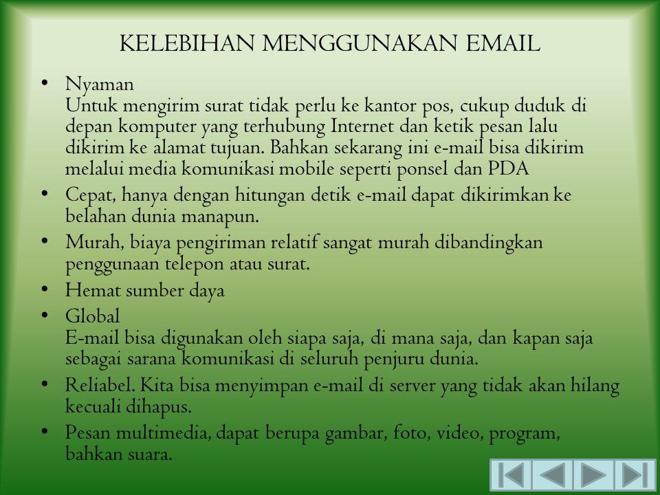 ELEKTRONIC MAIL (EMAIL) Surat elektronik (disingkat ratel atau surel atau surat-e) atau pos elektronik (disingkat pos-el) atau nama umumnya dalam bahasa Inggris e-mail atau email (ejaan Indonesia: imel) adalah sarana kirim mengirim surat melalui jalur Internet.