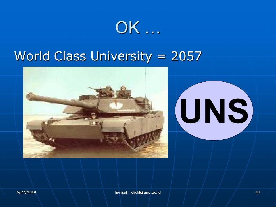 6/27/2014 E-mail: kholil@uns.ac.id 10 OK … World Class University = 2057 UNS