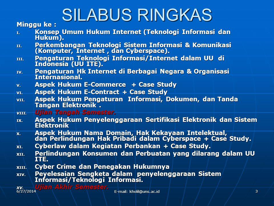 6/27/2014 E-mail: kholil@uns.ac.id 3 SILABUS RINGKAS Minggu ke : I. Konsep Umum Hukum Internet (Teknologi Informasi dan Hukum). II. Perkembangan Tekno