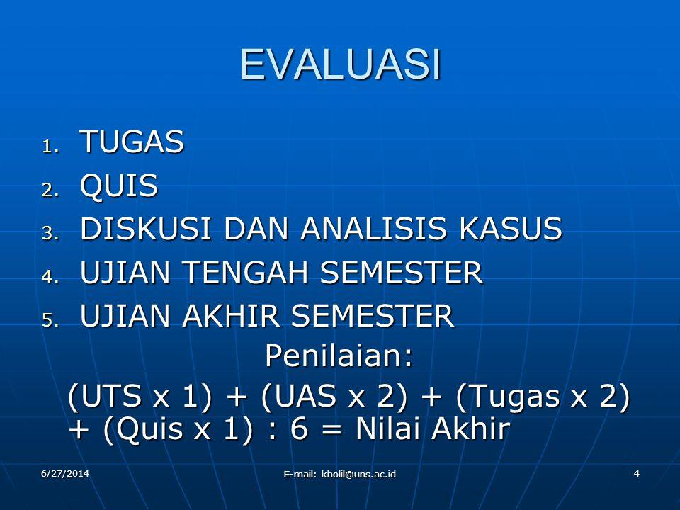 EVALUASI 1. TUGAS 2. QUIS 3. DISKUSI DAN ANALISIS KASUS 4. UJIAN TENGAH SEMESTER 5. UJIAN AKHIR SEMESTER Penilaian: (UTS x 1) + (UAS x 2) + (Tugas x 2