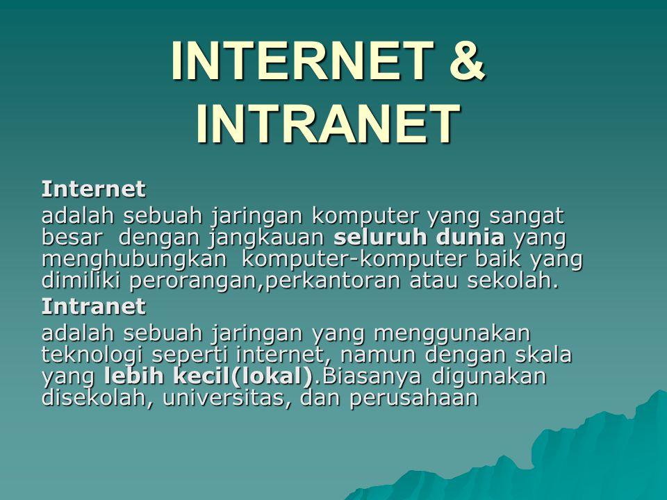Internet adalah sebuah jaringan komputer yang sangat besar dengan jangkauan seluruh dunia yang menghubungkan komputer-komputer baik yang dimiliki perorangan,perkantoran atau sekolah.