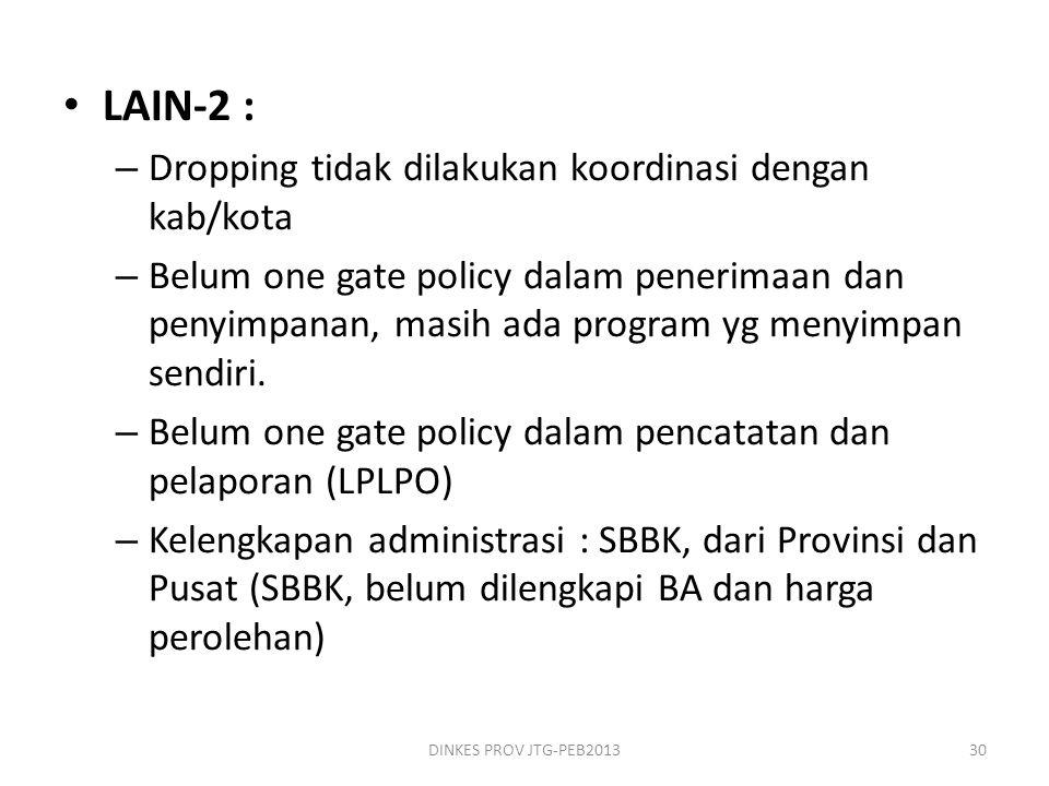 • LAIN-2 : – Dropping tidak dilakukan koordinasi dengan kab/kota – Belum one gate policy dalam penerimaan dan penyimpanan, masih ada program yg menyim