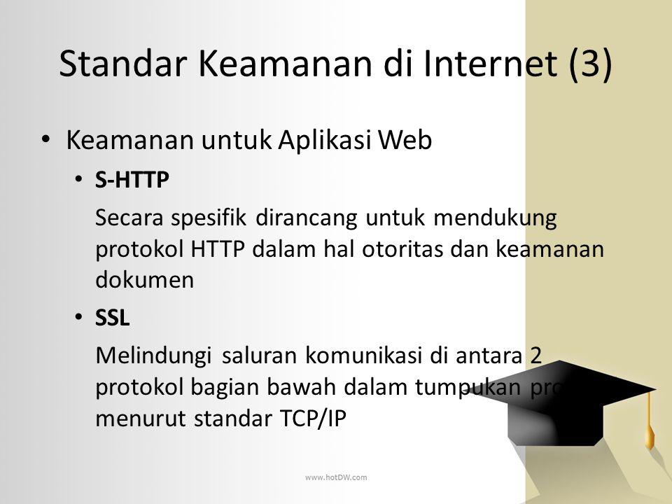 Standar Keamanan di Internet (3) • Keamanan untuk Aplikasi Web • S-HTTP Secara spesifik dirancang untuk mendukung protokol HTTP dalam hal otoritas dan