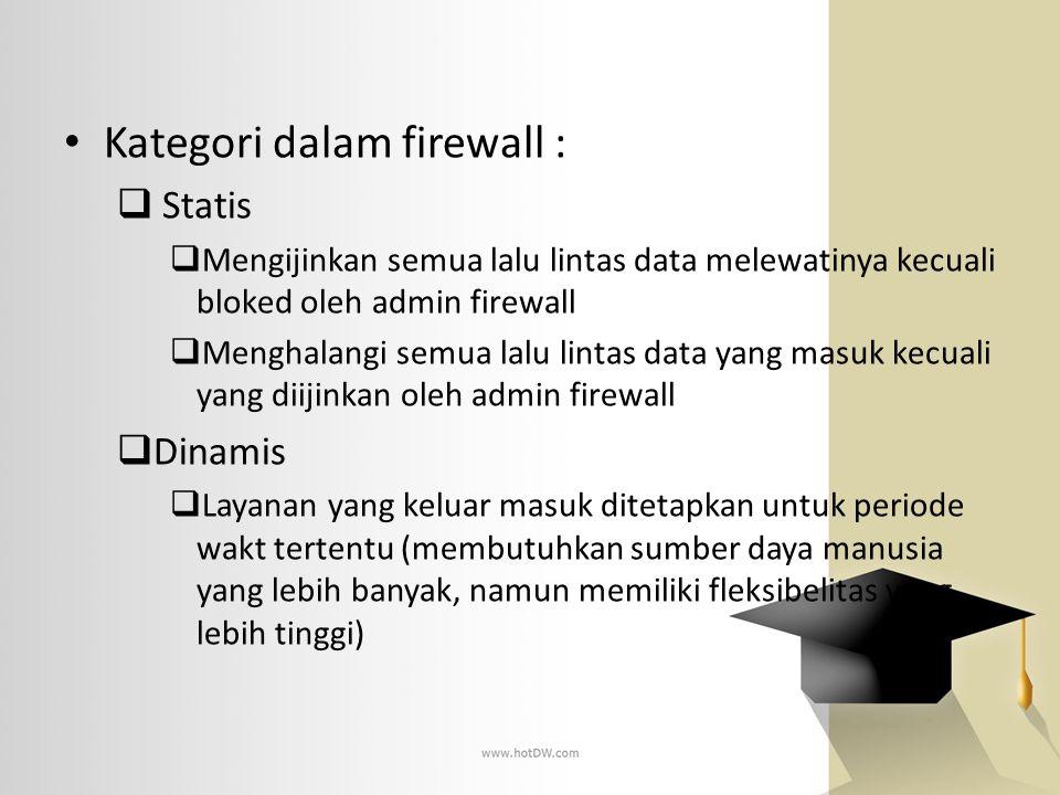 • Kategori dalam firewall :  Statis  Mengijinkan semua lalu lintas data melewatinya kecuali bloked oleh admin firewall  Menghalangi semua lalu lint