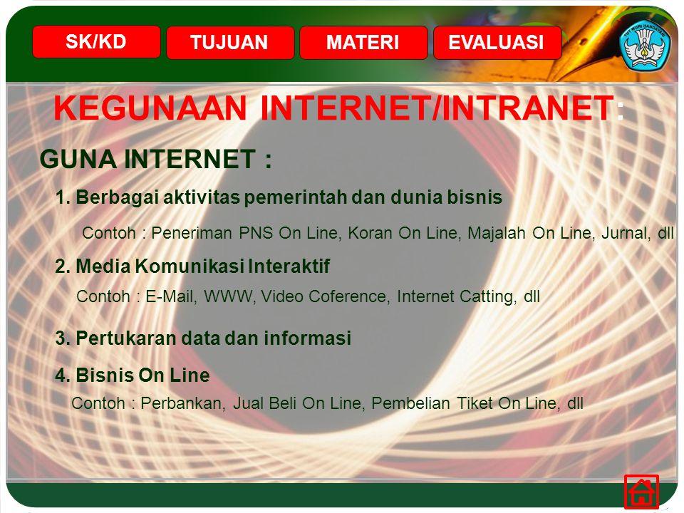 KEGUNAAN INTERNET/INTRANET: SK/KD TUJUANMATERIEVALUASI GUNA INTERNET : 1. Berbagai aktivitas pemerintah dan dunia bisnis Contoh : Peneriman PNS On Lin