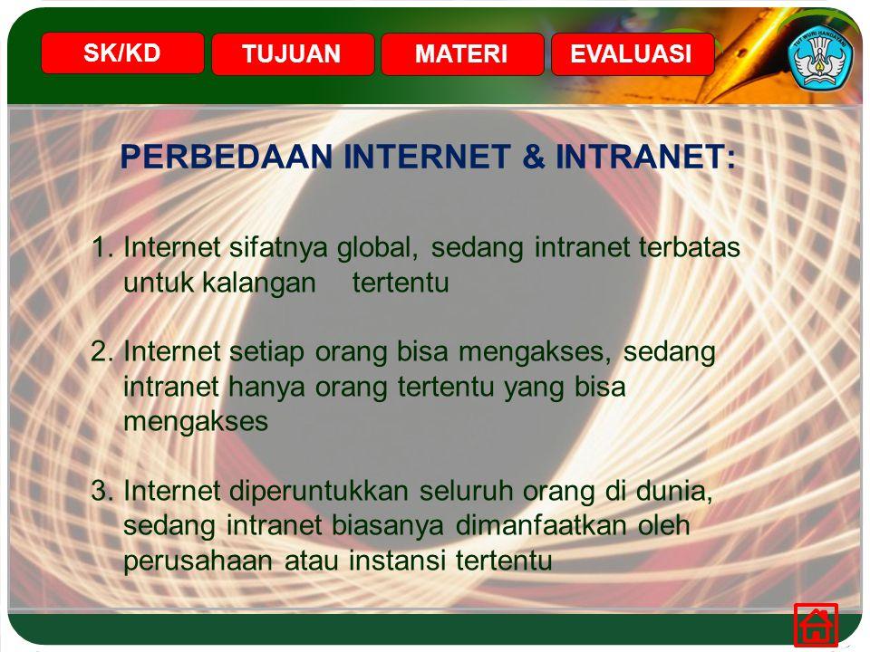 PERBEDAAN INTERNET & INTRANET: SK/KD TUJUANMATERIEVALUASI 1.Internet sifatnya global, sedang intranet terbatas untuk kalangan tertentu 2.Internet seti