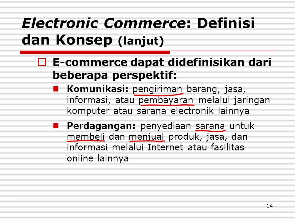14 Electronic Commerce: Definisi dan Konsep (lanjut)  E-commerce dapat didefinisikan dari beberapa perspektif:  Komunikasi: pengiriman barang, jasa,