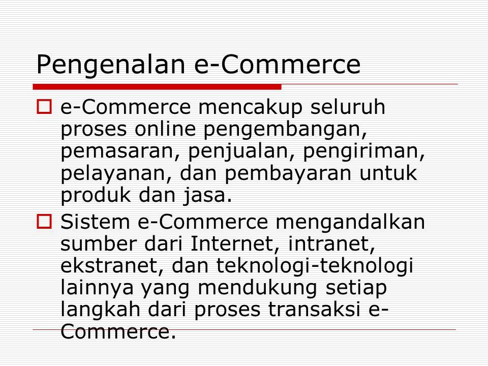 Ruang Lingkup e-Commerce  Saat ini kebanyakan perusahaan mengambil bagian atau mensponsori tiga kategori dasar dari aplikasi e- Commerce: B2C (Business-to- Consumer), B2B (Business-to- Business), dan C2C (Consumer-to- Consumer).