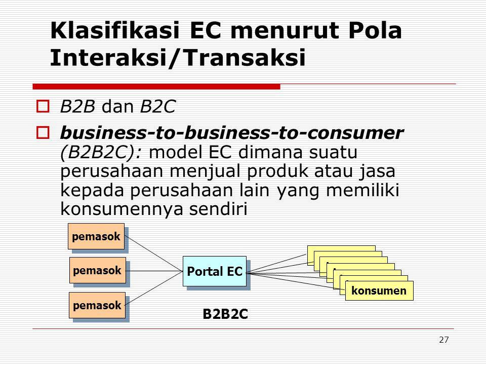 27 Klasifikasi EC menurut Pola Interaksi/Transaksi  B2B dan B2C  business-to-business-to-consumer (B2B2C): model EC dimana suatu perusahaan menjual