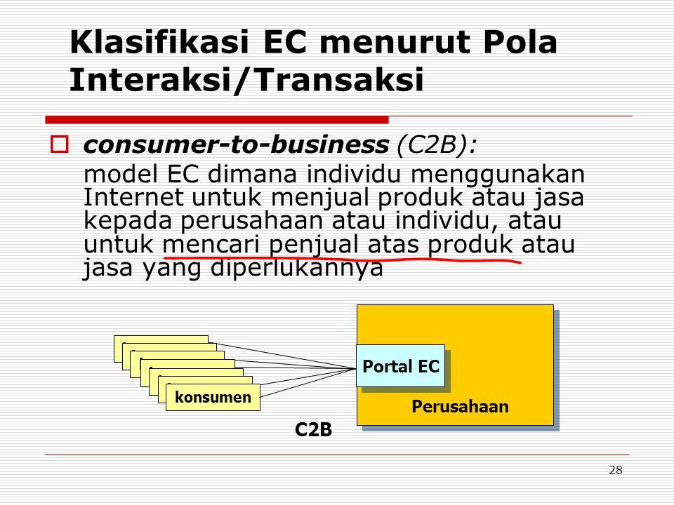 28 Klasifikasi EC menurut Pola Interaksi/Transaksi  consumer-to-business (C2B): model EC dimana individu menggunakan Internet untuk menjual produk at