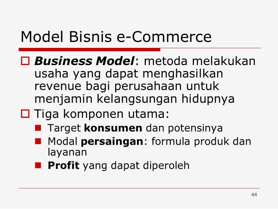 44 Model Bisnis e-Commerce  Business Model: metoda melakukan usaha yang dapat menghasilkan revenue bagi perusahaan untuk menjamin kelangsungan hidupn