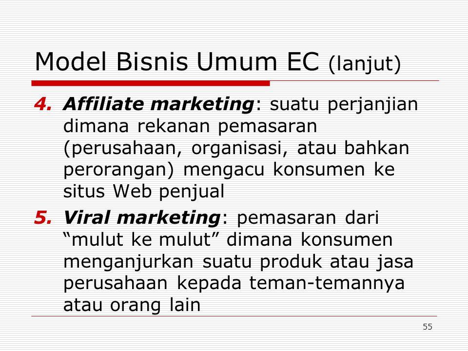 55 Model Bisnis Umum EC (lanjut) 4.Affiliate marketing: suatu perjanjian dimana rekanan pemasaran (perusahaan, organisasi, atau bahkan perorangan) men