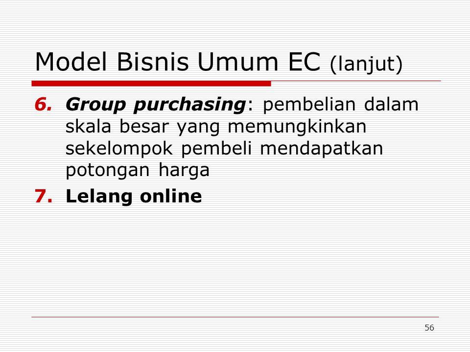 56 Model Bisnis Umum EC (lanjut) 6.Group purchasing: pembelian dalam skala besar yang memungkinkan sekelompok pembeli mendapatkan potongan harga 7.Lel