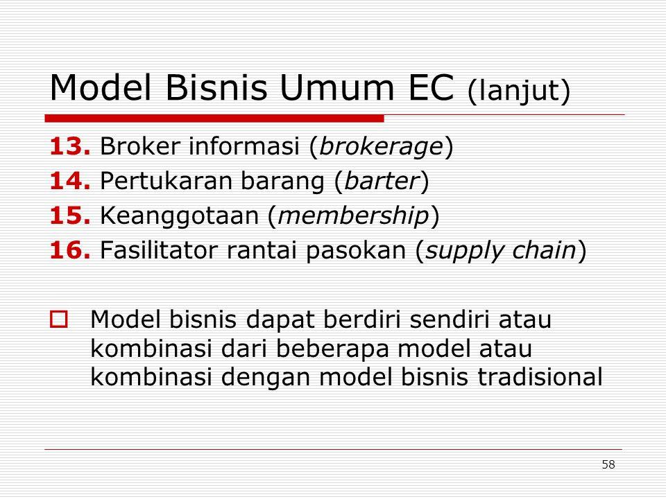 58 Model Bisnis Umum EC (lanjut) 13. Broker informasi (brokerage) 14. Pertukaran barang (barter) 15. Keanggotaan (membership) 16. Fasilitator rantai p