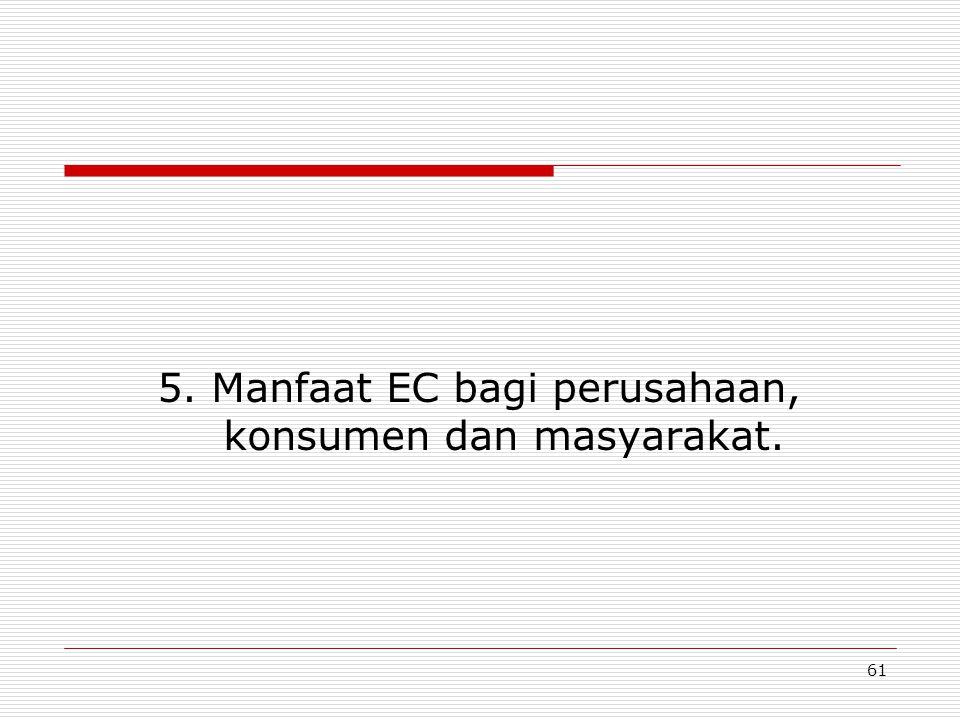 61 5. Manfaat EC bagi perusahaan, konsumen dan masyarakat.